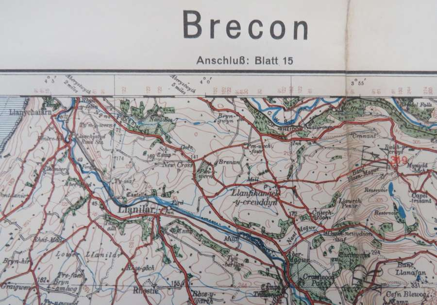 WW 2 German Invasion Map of Brecon