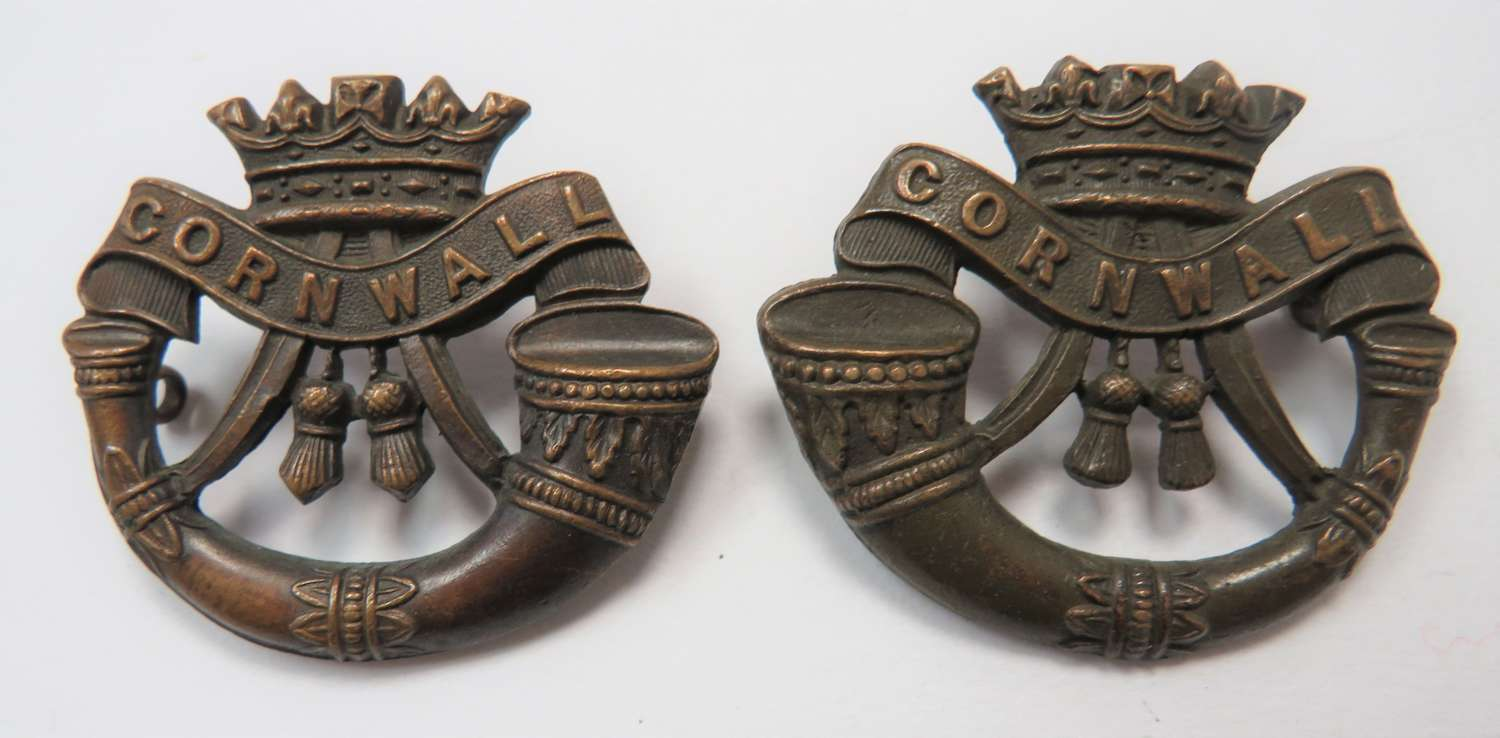 Pair of Cornwall Light Infantry Collar Badges