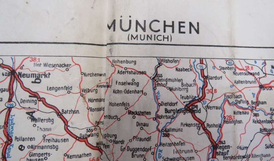 1944 Invasion Transport Map of Munich Germany
