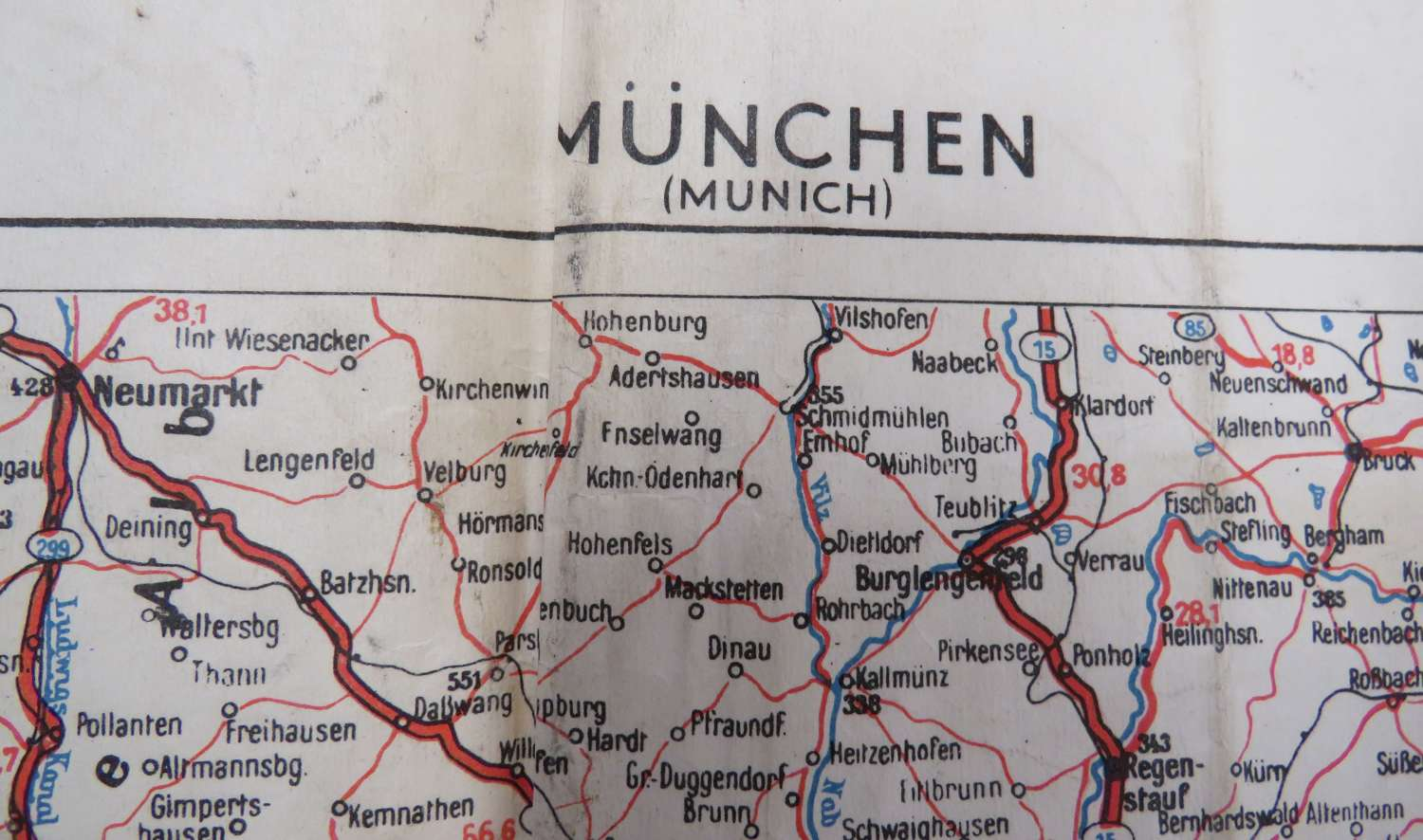 1944 Invasion Transport Map of Munich Germany