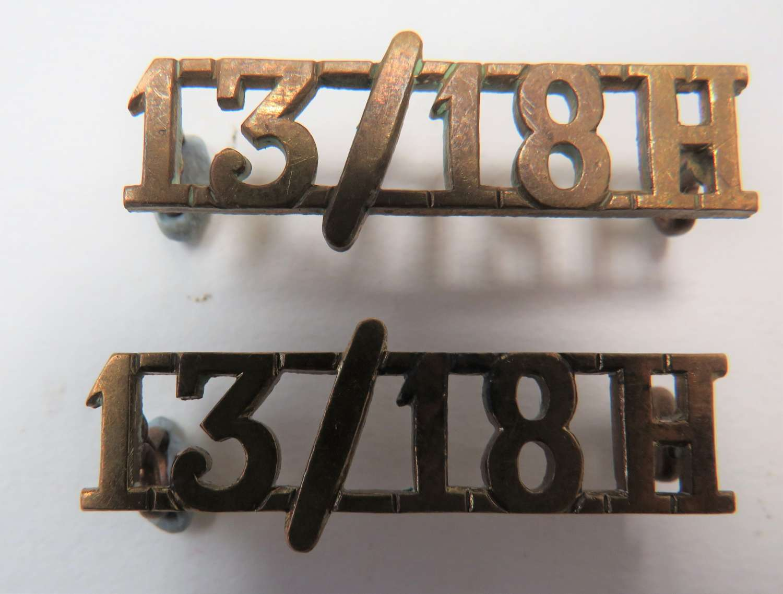 Pair of 13/18 Hussars Shoulder Titles