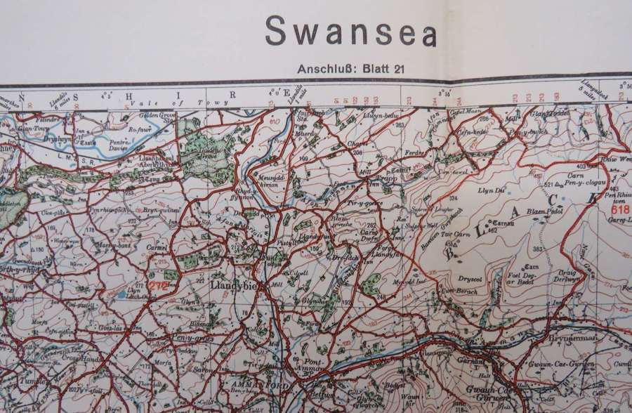 WW 2 German Invasion Map of Swansea