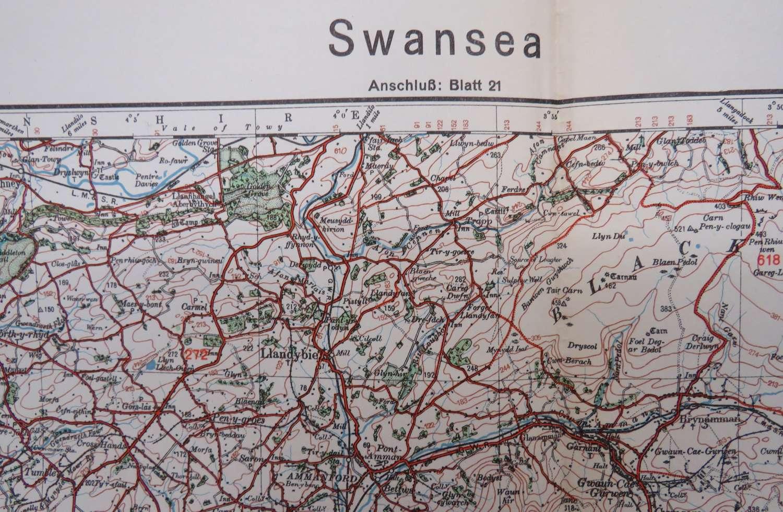 WW 2 German Invasion Map of Swansea