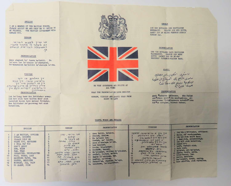 Suez Period Escape and Evasion Language Chart