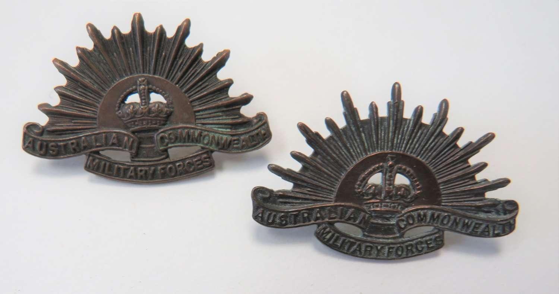 Pair of Australian Collar Badges