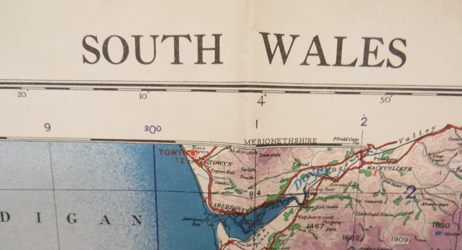 WW2 British Military Map of South Wales