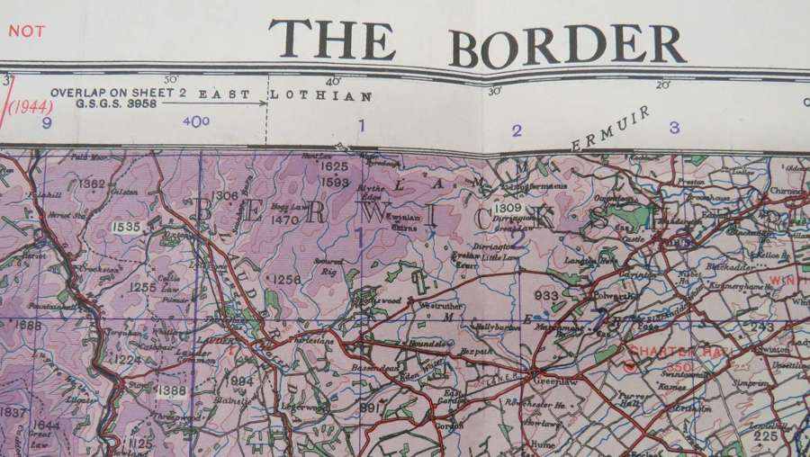 WW2 British Military Map of The Borders