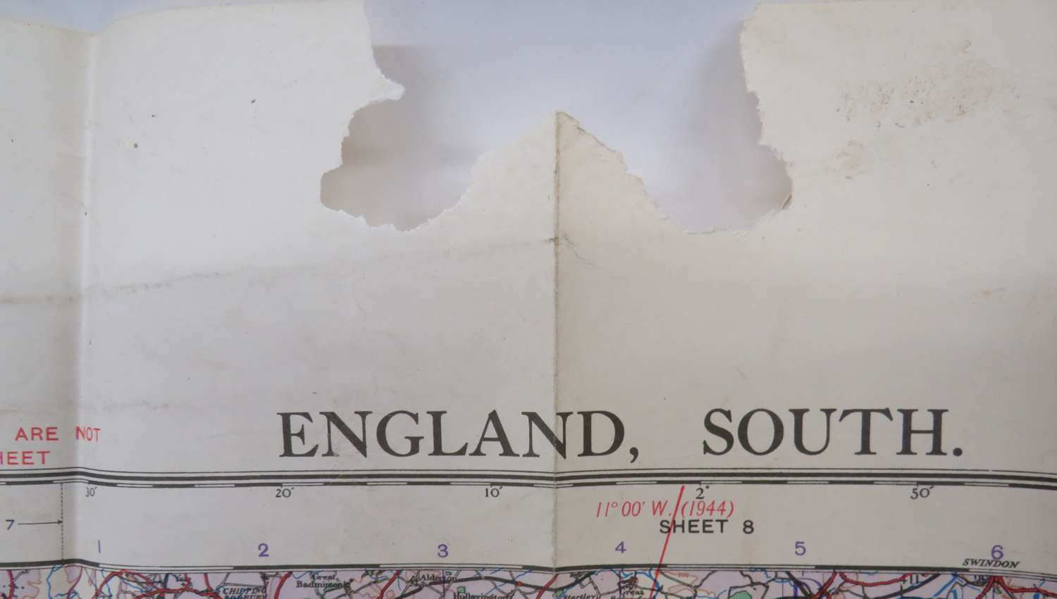 WW2 British Military Air Map of England South