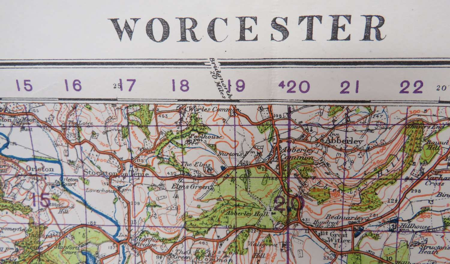 WW2 British Military Map of Worcester
