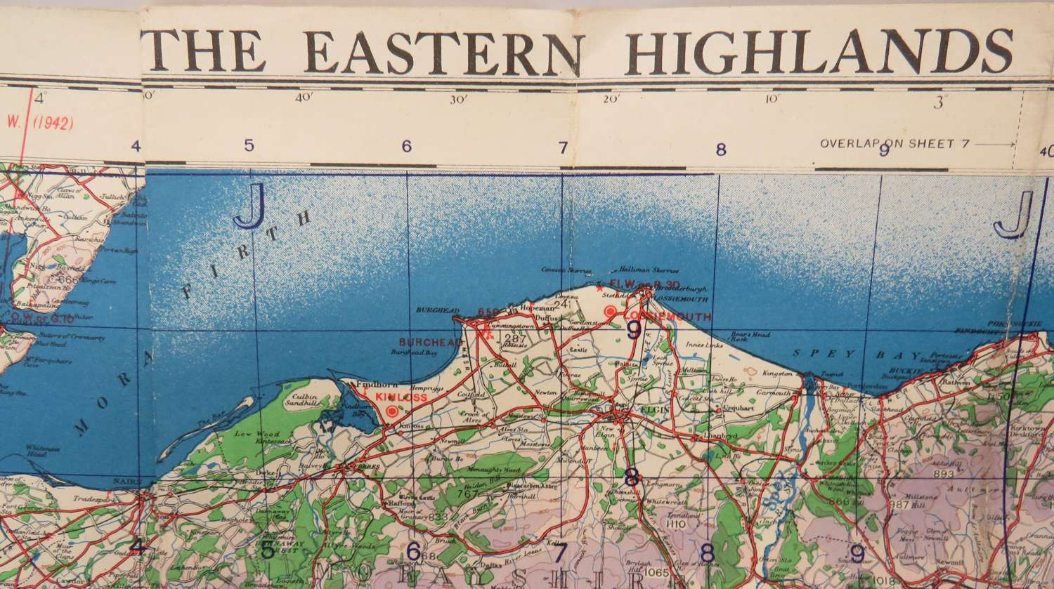 WW2 British Military / Air Map of The Eastern Highlands