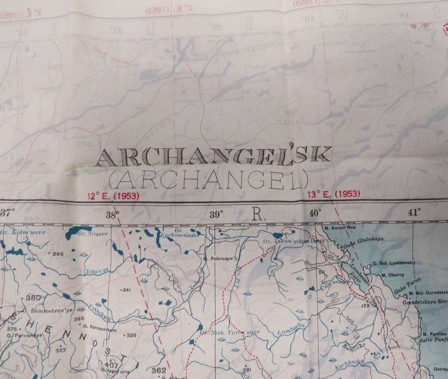 Cold War Silk Escape Map Covering Archangel Russia