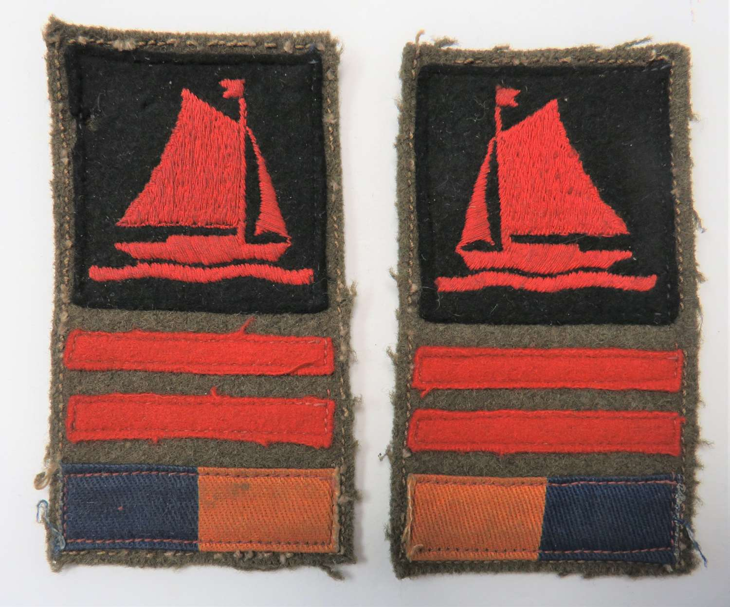 Rare Facing Pair of 76th Division Kings Own Battle Formation Flash