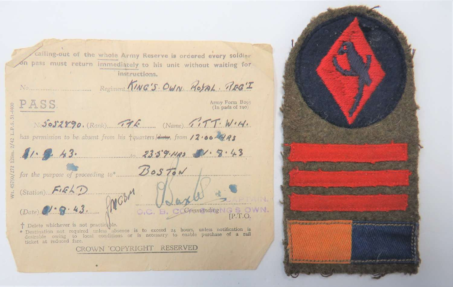 48th Division Kings Own Regiment Battle Formation Flash