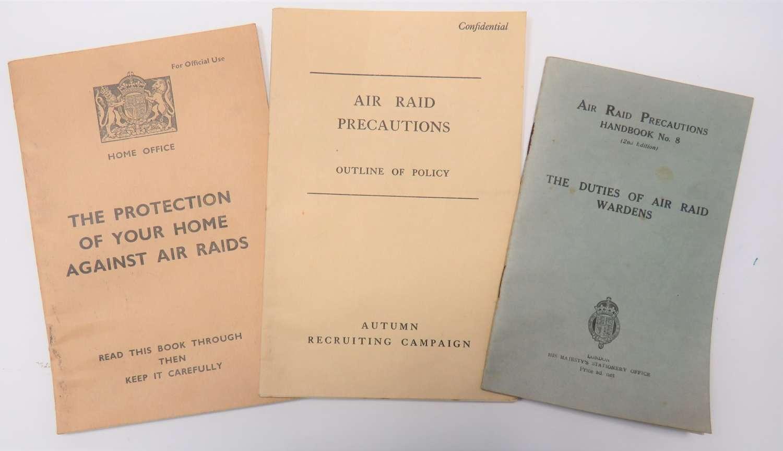 Three  WW2  Air Raid Pamphlets