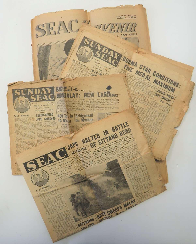 Four S.E.A.C WW2 Newspapers