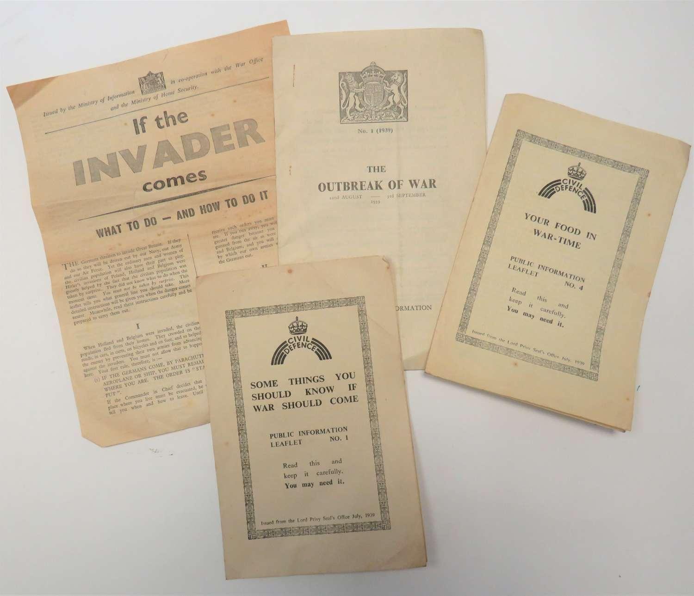 Four WW2 Civil Defence Leaflets