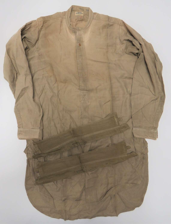 WW2 Original British Officers Half Front Fastened Collarless Shirt