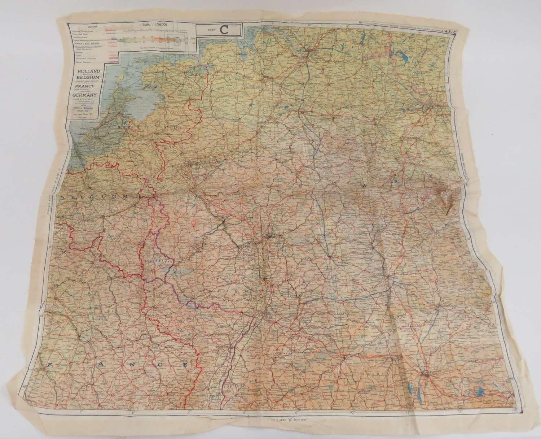 WW2 R.A.F / S.O.E Silk Escape Map of Europe