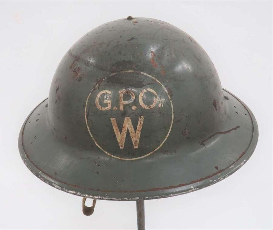Rare WW2 .G.P.O .Wardens 1940 Dated Steel Helmet