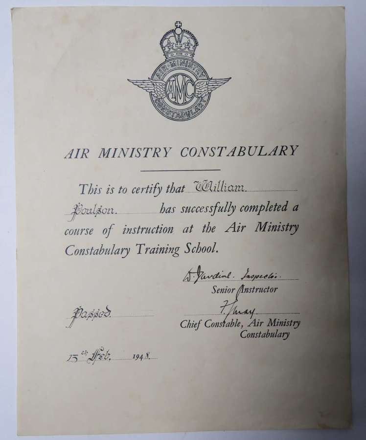 Air Ministry Constabulary Certificate