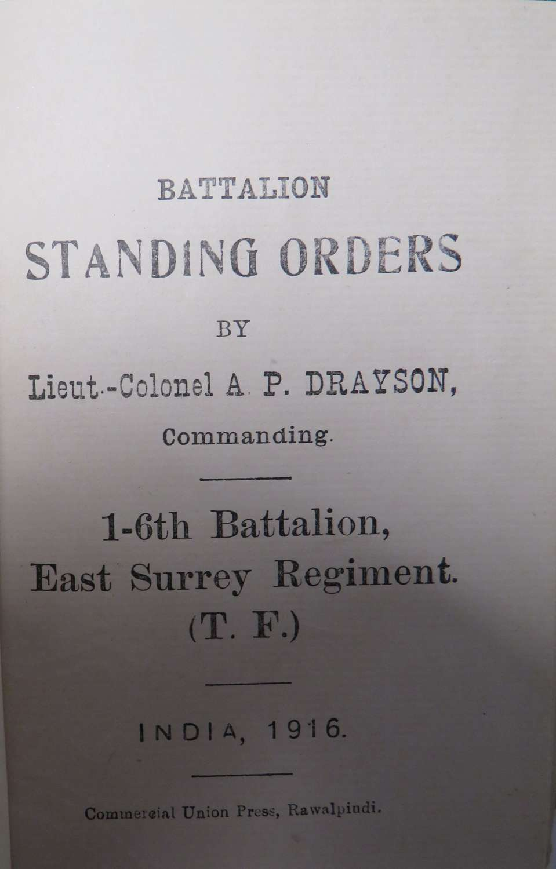 1st-6th Batt East Surrey Regiment 1916 Standing Orders