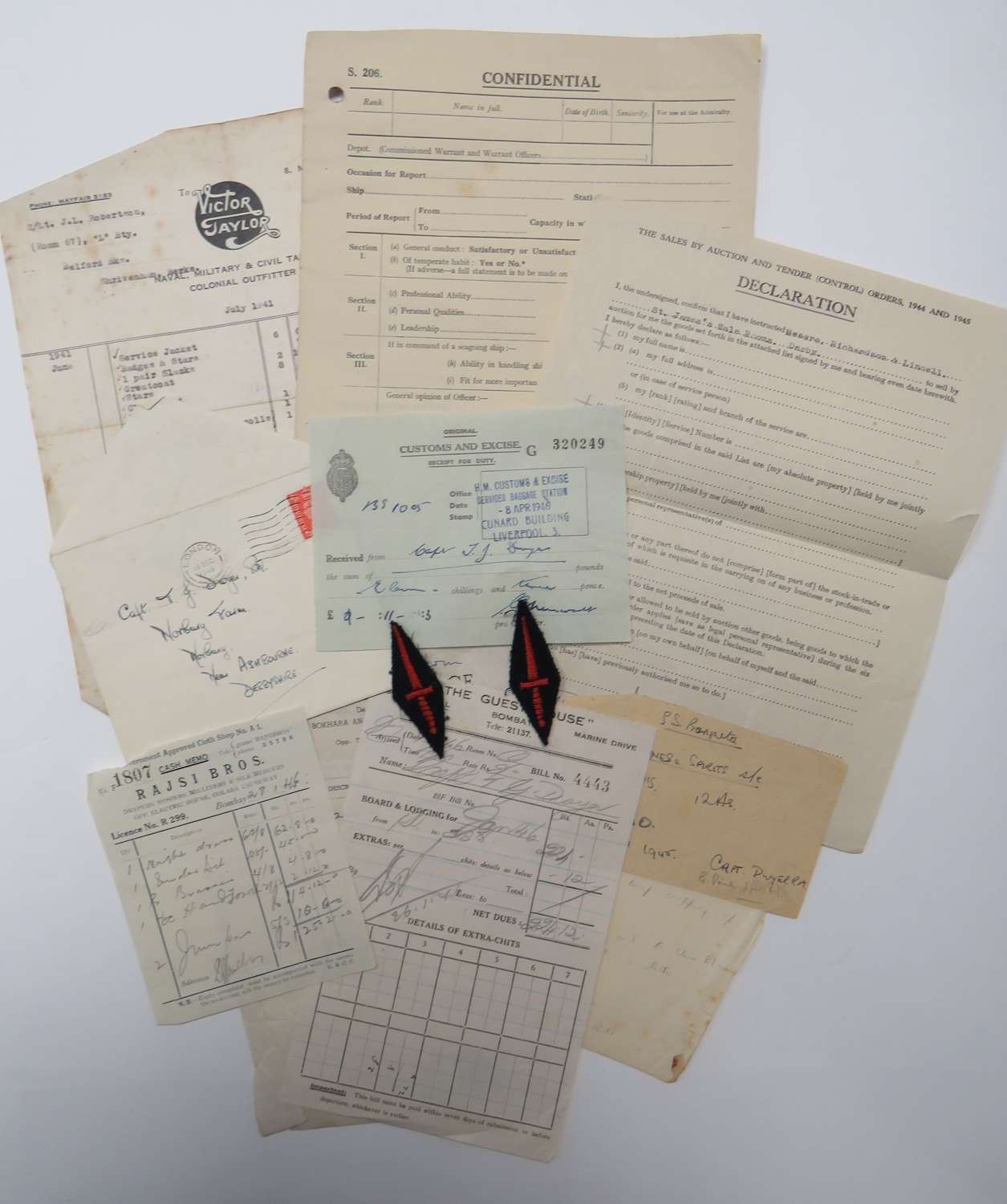 WW2 Royal Marines Officers Paperwork and Badges