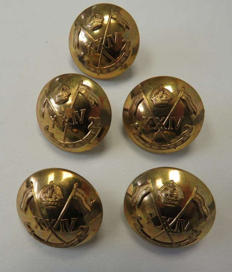 Five 24th Lancers Large Gilt Buttons