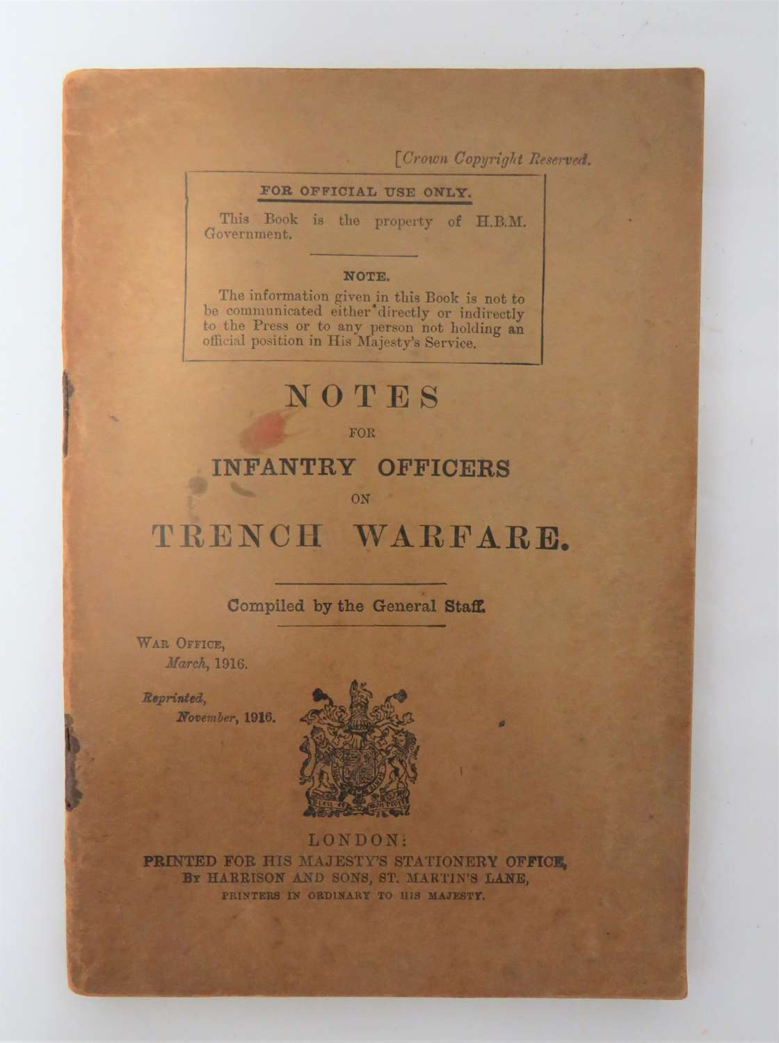 WW1 1916 Dated Officers Trench Warfare Booklet