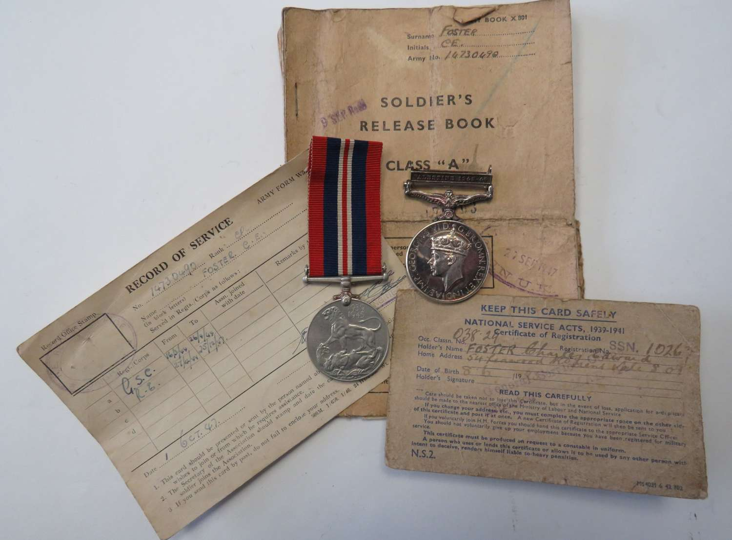 WW2 and Palestine 1945-48 Medal Pair and Paperwork