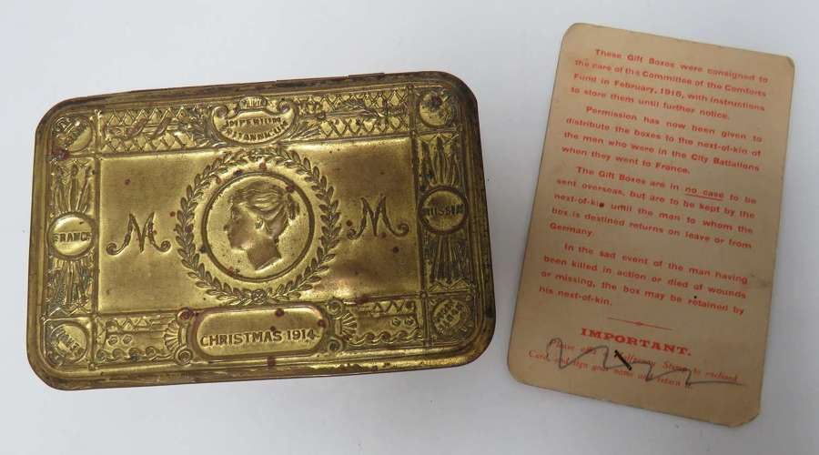 1914 Christmas Tin With Rare Next of Kin Later Issue Card