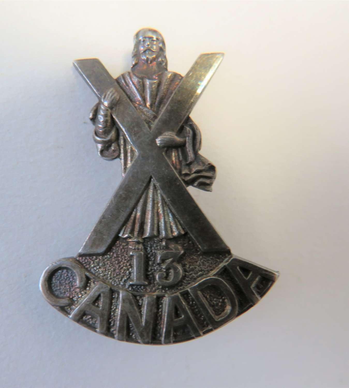 Silver 13th Canadian Highlanders Badge