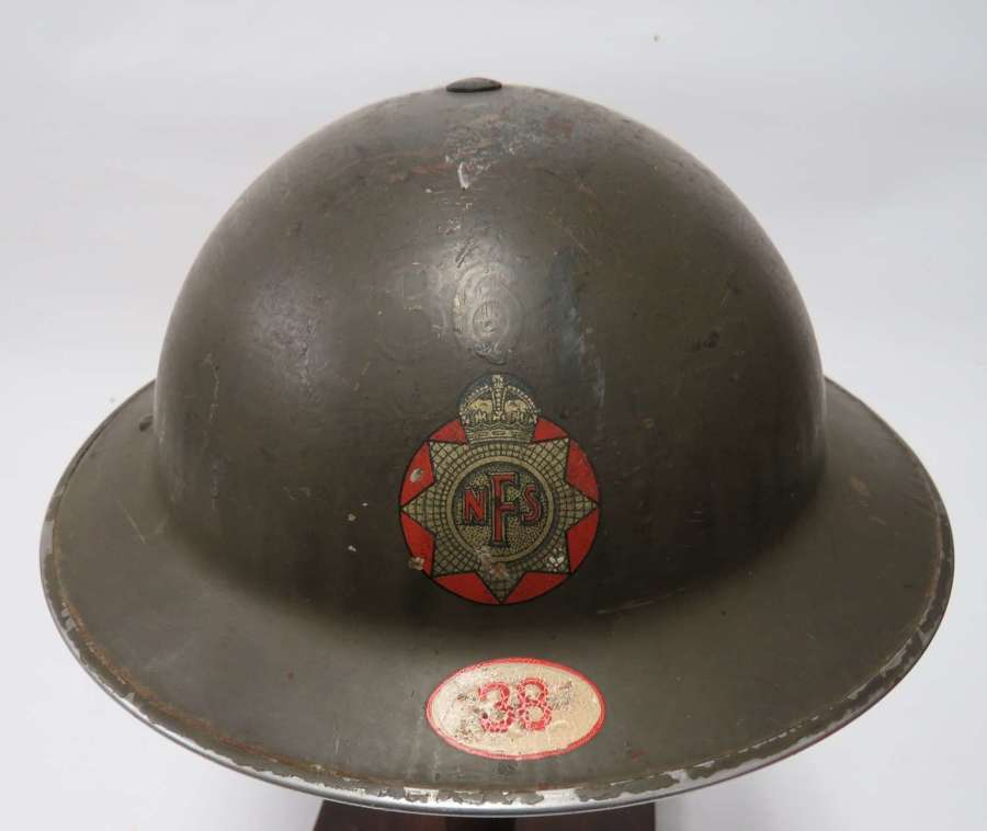 Rare 1939 Dated N.F.S Helmet with Earlier Ghost Fire Station Marks