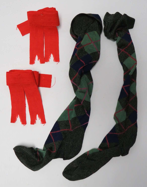 Pair of Scottish Regimental Socks and Hose Top Ribbons