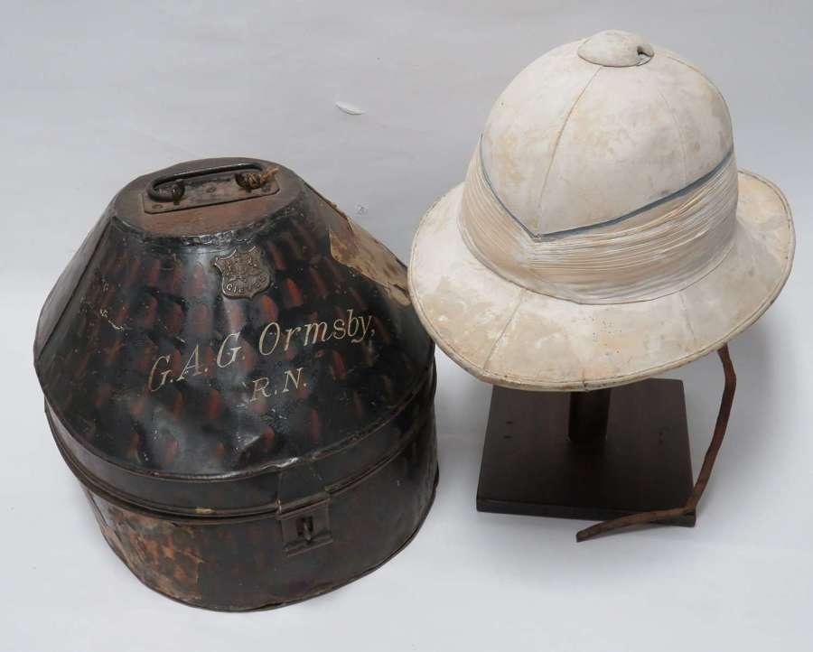 WW1 / Interwar Royal Navy Officers Pith Helmet in Transit Tin