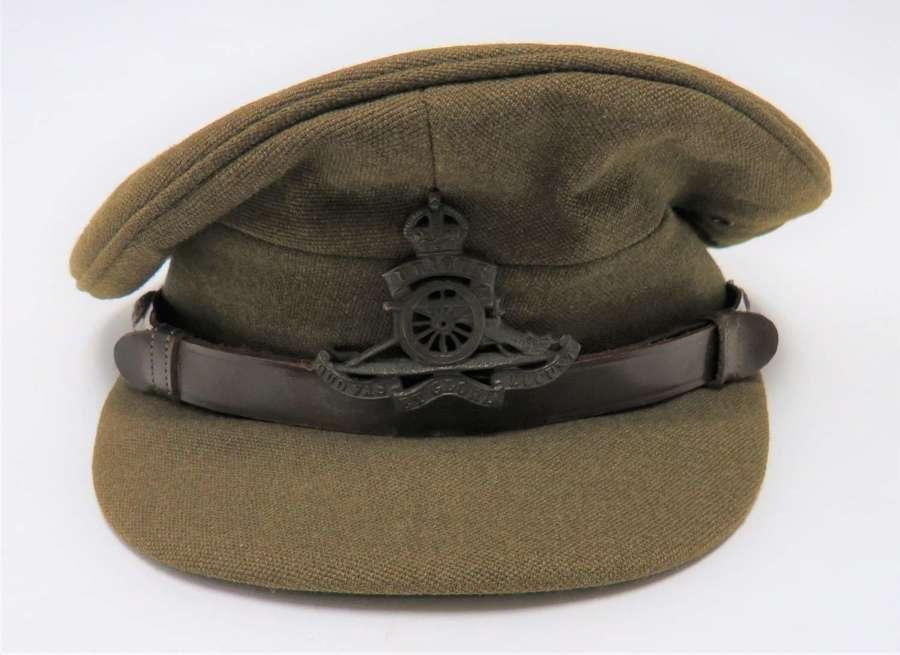 WW2 Royal Artillery Officers Service Dress Cap . Good Size