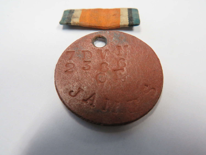WW1 Dog Tag to the 7th Devon Regiment