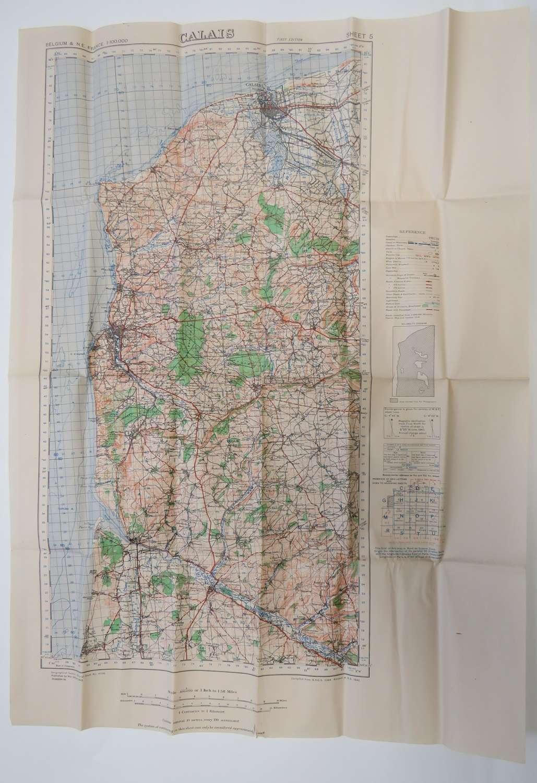 WW2 Dated 1944 Calais France Map