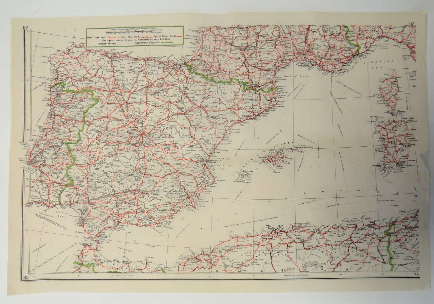 WW 2 Escape and Evasion Tissue Map of Spain