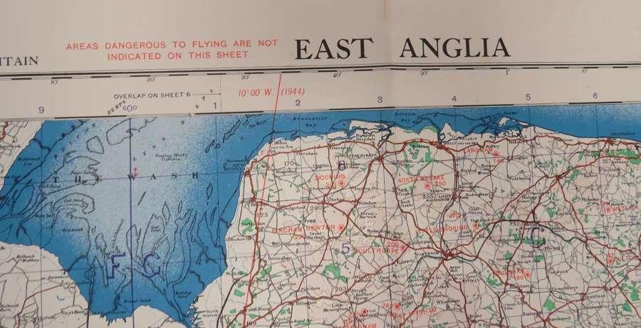 WW2 R.A.F Issue East Anglia Map