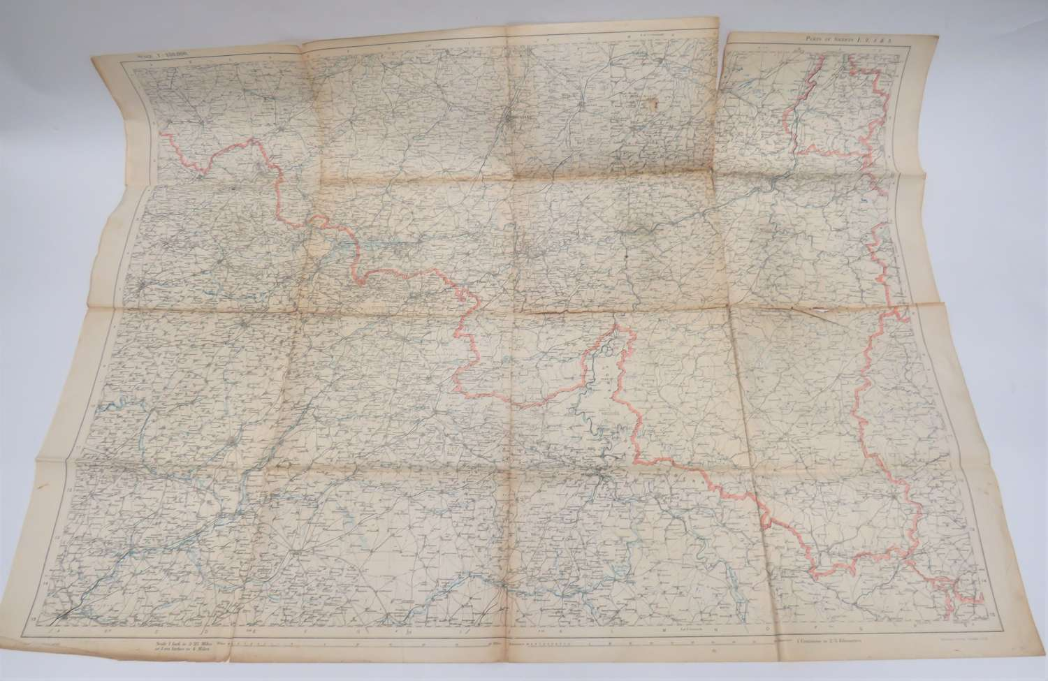 1918 Dated Map of France and Belgium