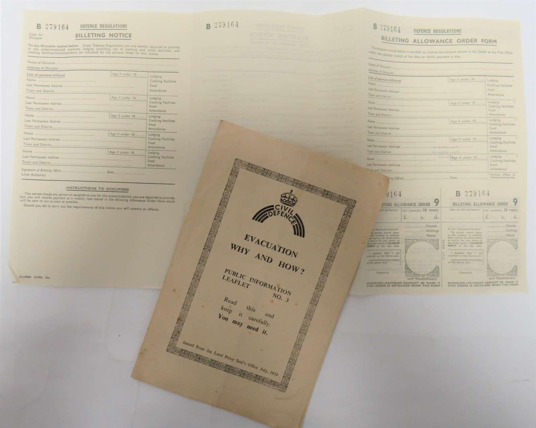 WW2 Billeting Form and Leaflet