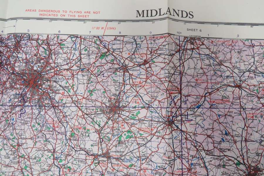 WW2 R.A.F Issue The Midlands Map