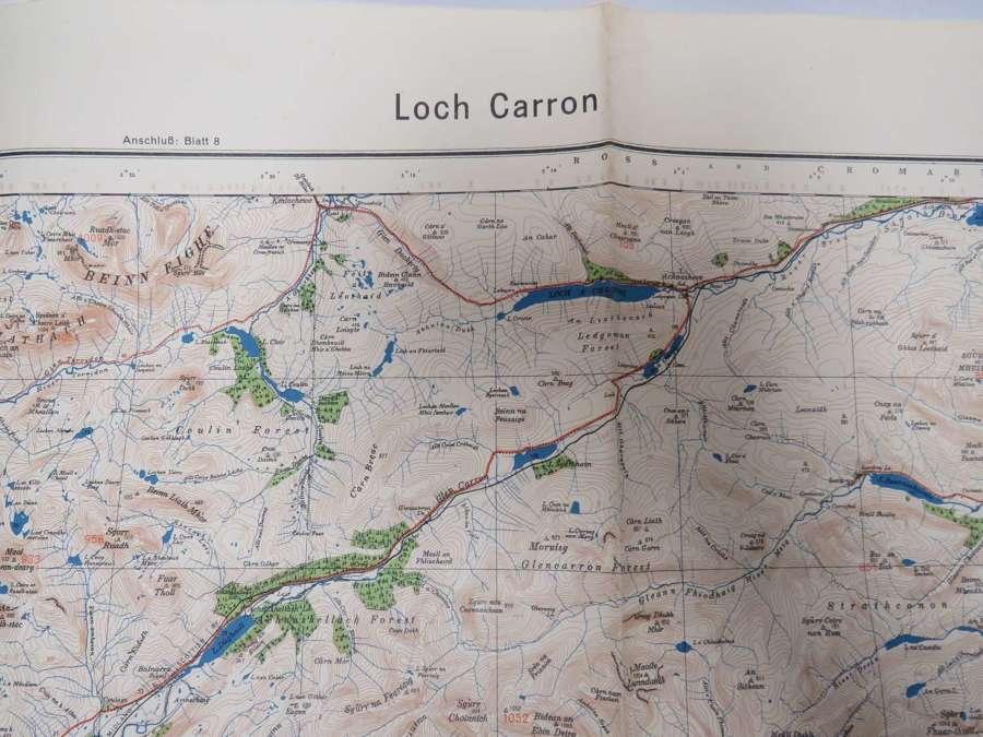 WW 2 German Invasion Map of Loch Carron Scotland