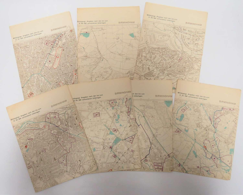 Rare Set of German Invasion / Target Maps of Birmingham