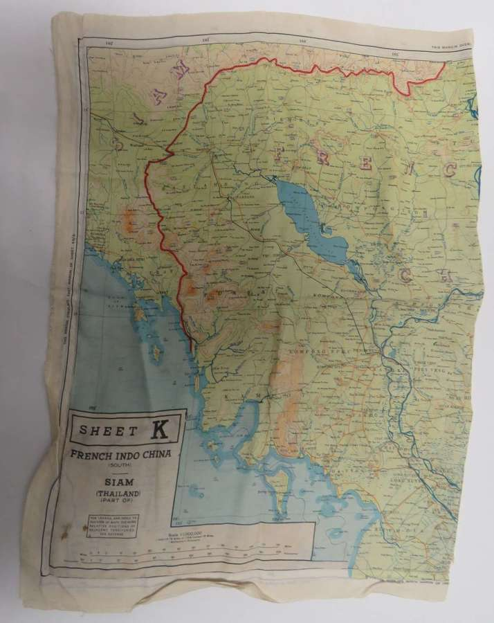 WW2 R.A.F Far East Double Sided Silk Map Of French Indo China