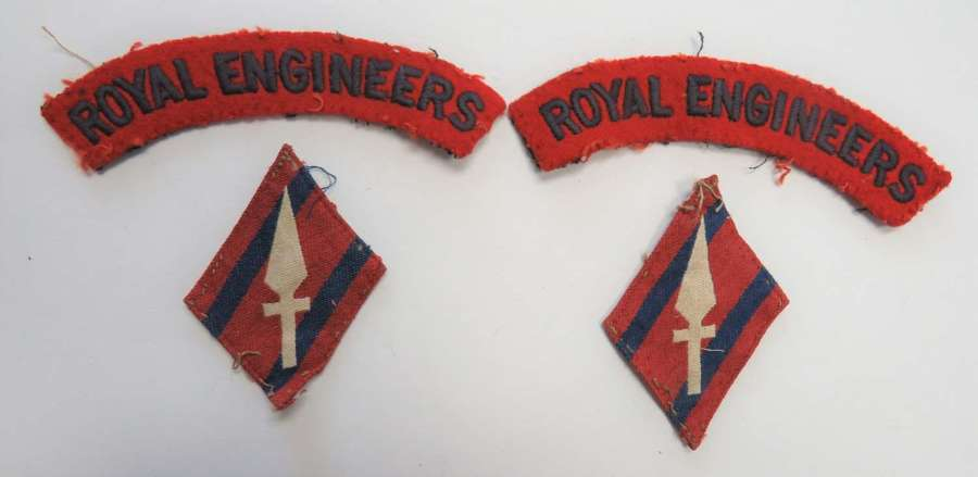 Pair of 1st Corps Engineer Formation Badges and Titles