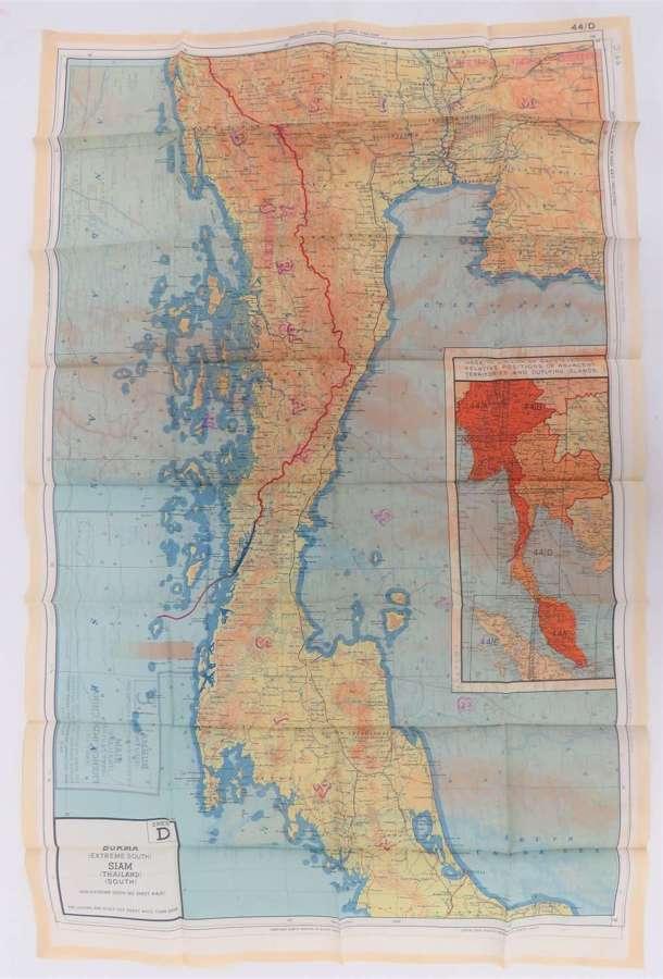 WW2 R.A.F Far East Double Sided Silk Map Of Burma and Siam