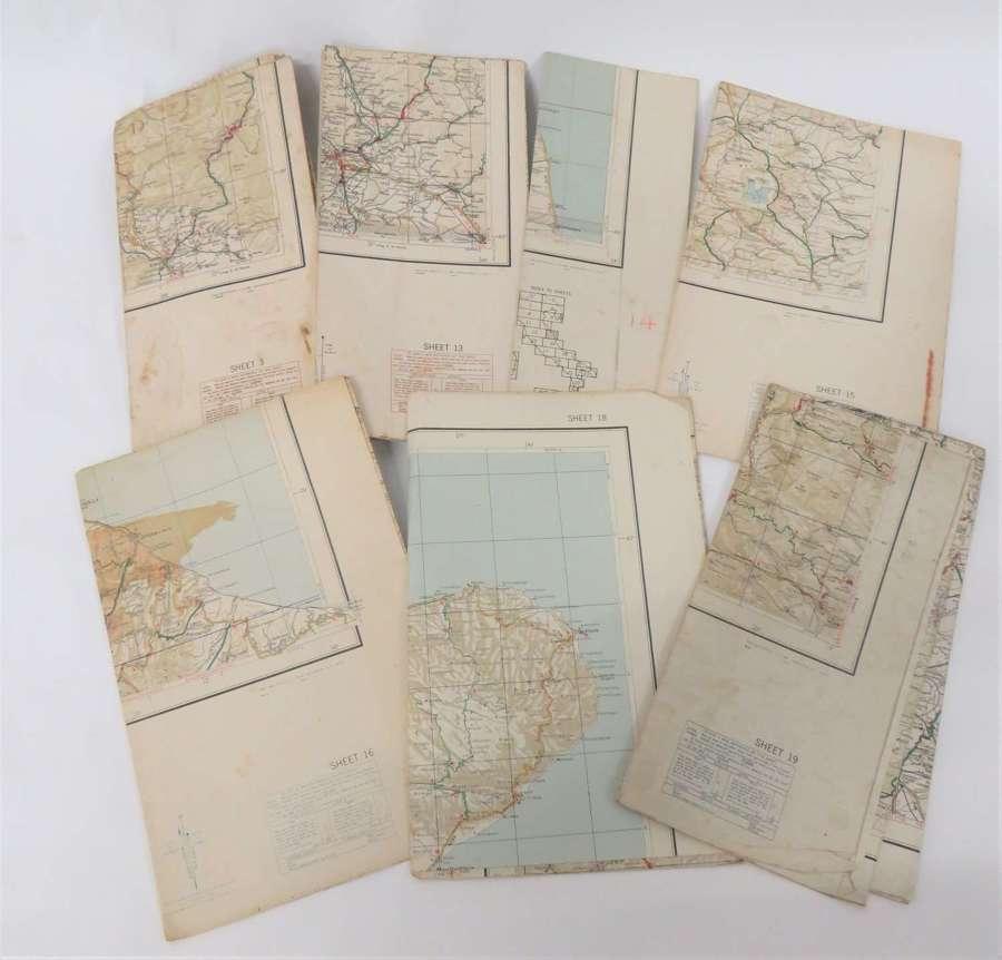 Set of 8 WW2 Italian Invasion Maps